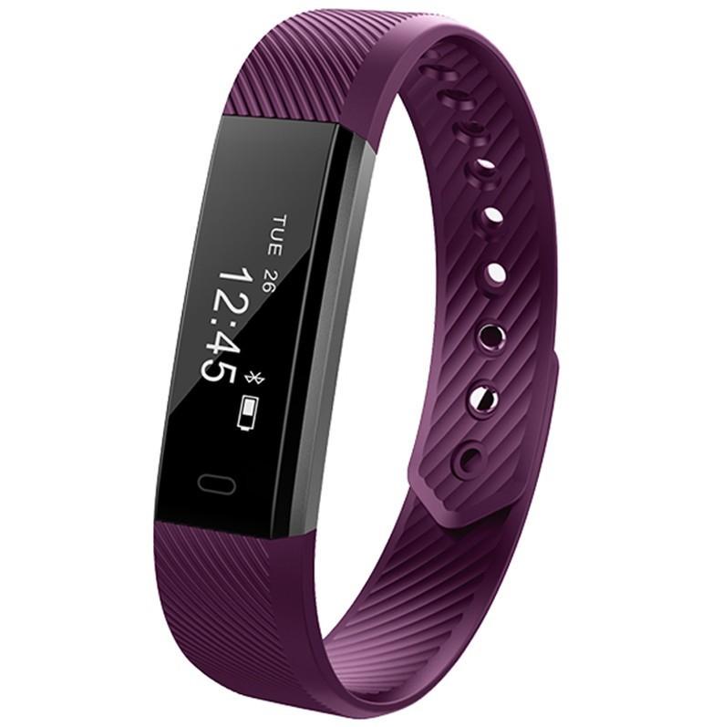 Bratara Fitness iUni ID115 Plus, Display OLED, Bluetooth, Pedometru, Monitorizare puls, Notificari, Android si iOS, Mov