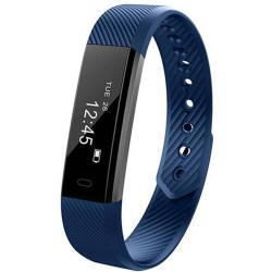 Bratara Fitness iUni ID115 Plus, Display OLED, Bluetooth, Pedometru, Monitorizare puls, Notificari, Android si iOS, Albastru
