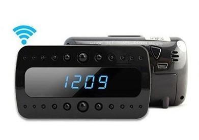 ceas cu camera spion wi-fi iuni spycam ip05, full hd, night vision, functie detectie miscare, p2p, card 8gb