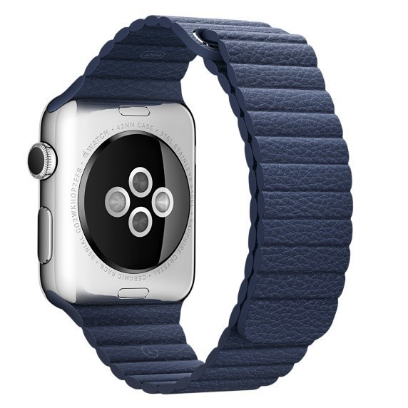 Curea Piele Pentru Apple Watch 42mm Iuni Midnight Blue Leather Loop