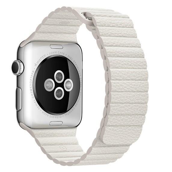Curea piele pentru Apple Watch 42mm iUni White Leather Loop