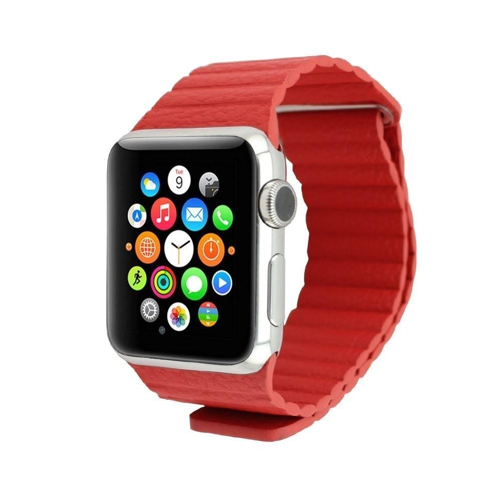 Curea piele pentru Apple Watch 38mm iUni Red Leather Loop imagine techstar.ro 2021