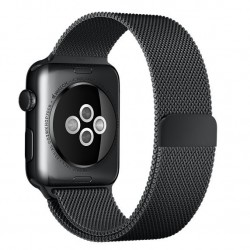 Curea pentru Apple Watch 38mm Otel Inoxidabil iUni Space Black Milanese Loop