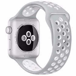 Curea pentru Apple Watch 42 mm Silicon iUni Argintiu-Alb