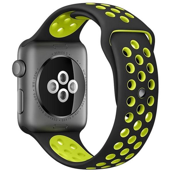 Curea pentru Apple Watch 42 mm Silicon iUni Negru-Galben