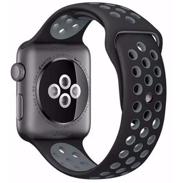 Curea pentru Apple Watch 38 mm Silicon iUni Negru-Argintiu