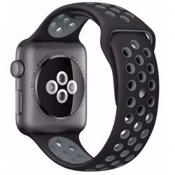 Curea pentru Apple Watch 42 mm Silicon iUni Negru-Argintiu