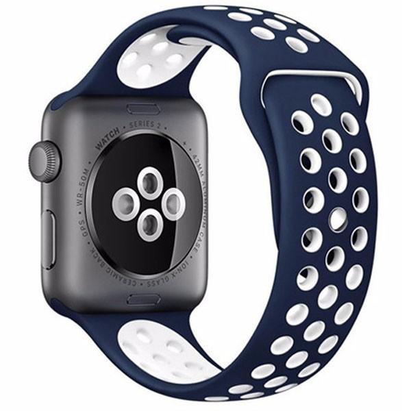 Curea pentru Apple Watch 42 mm Silicon iUni Albastru-Alb