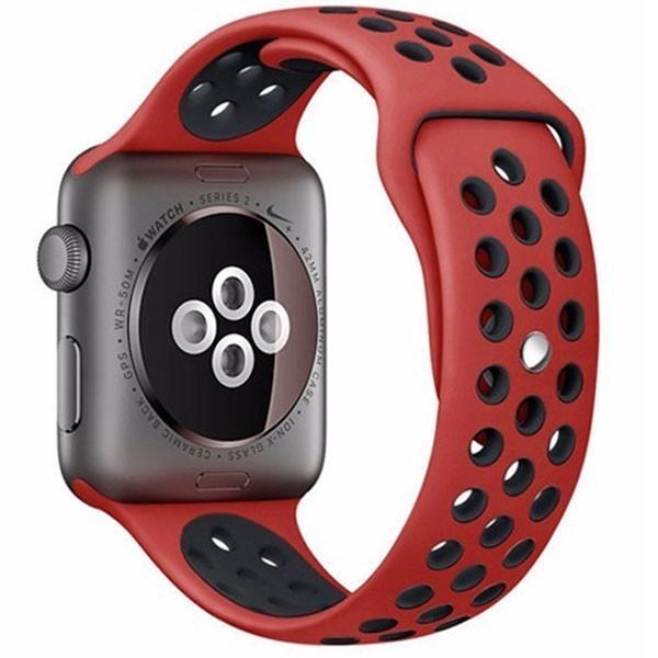 Curea pentru Apple Watch 38 mm Silicon iUni Rosu-Negru