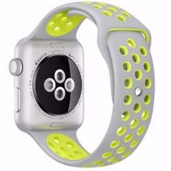Curea pentru Apple Watch 42 mm Silicon iUni Argintiu-Galben