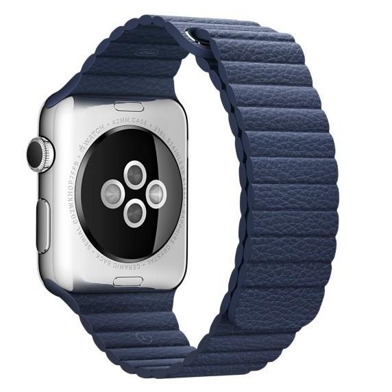 Curea piele pentru Apple Watch 38mm iUni Midnight Blue Leather Loop imagine techstar.ro 2021