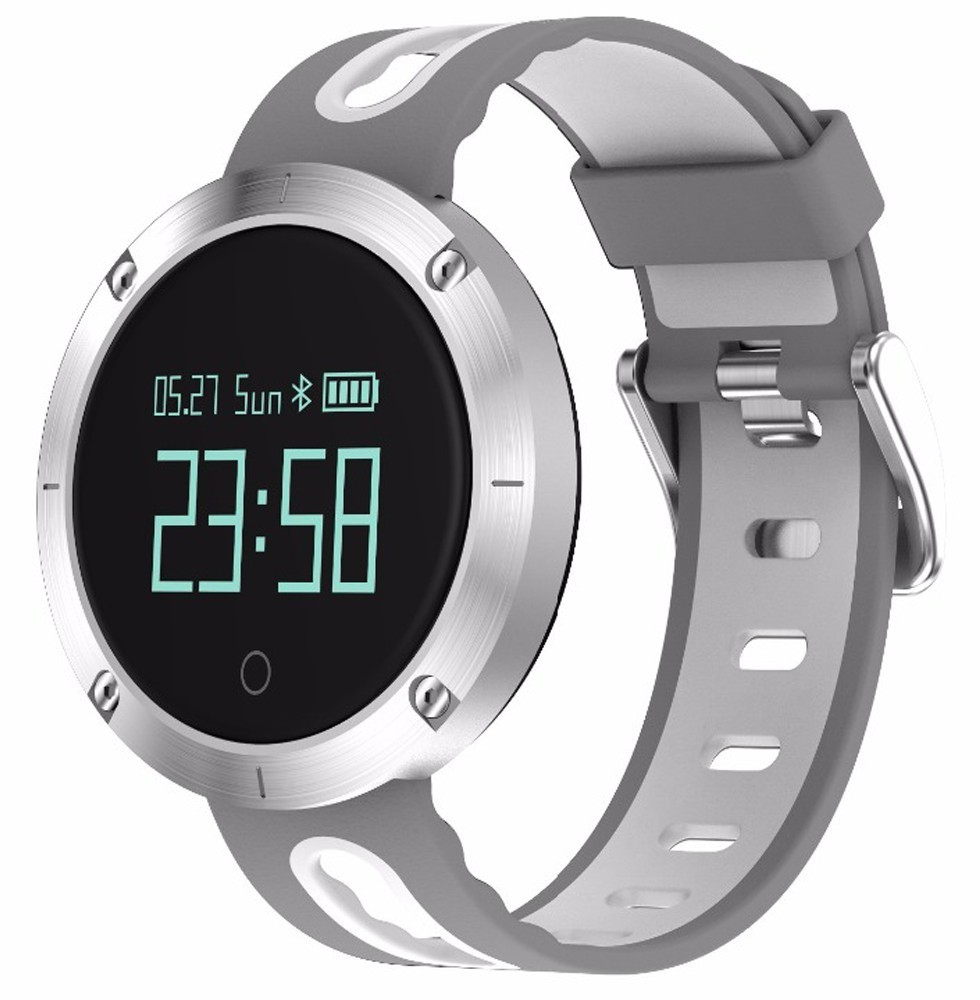 Bratara Fitness iUni DM58 Plus, Waterproof, Display OLED, Ceas, Pedometru, Monitorizare puls, Notificari, Alb-Gri
