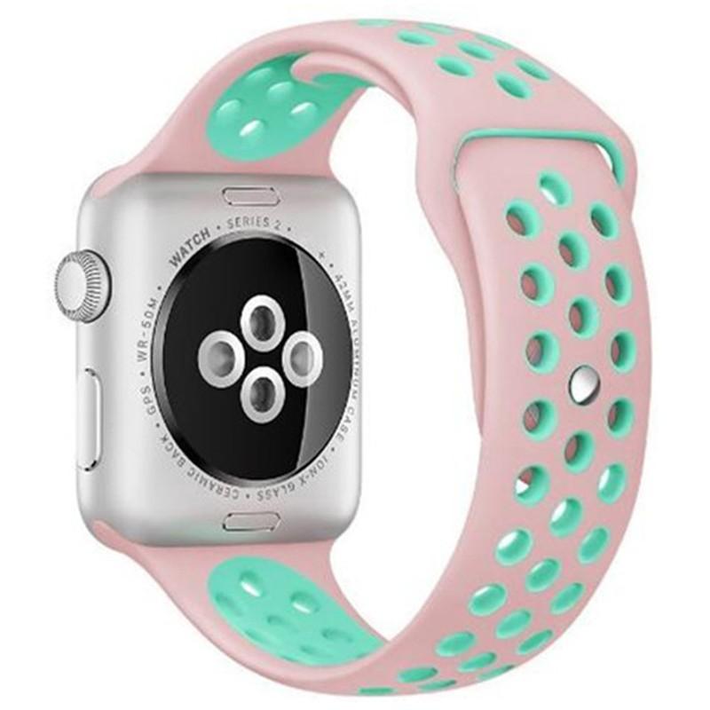 Curea pentru Apple Watch 38 mm Silicon Sport iUni Pink-Blue