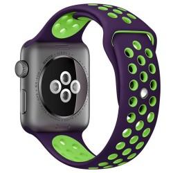 Curea pentru Apple Watch 38 mm Silicon Sport iUni Purple-Green