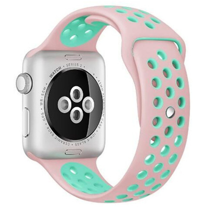 Curea pentru Apple Watch 42 mm Silicon Sport iUni Pink-Blue