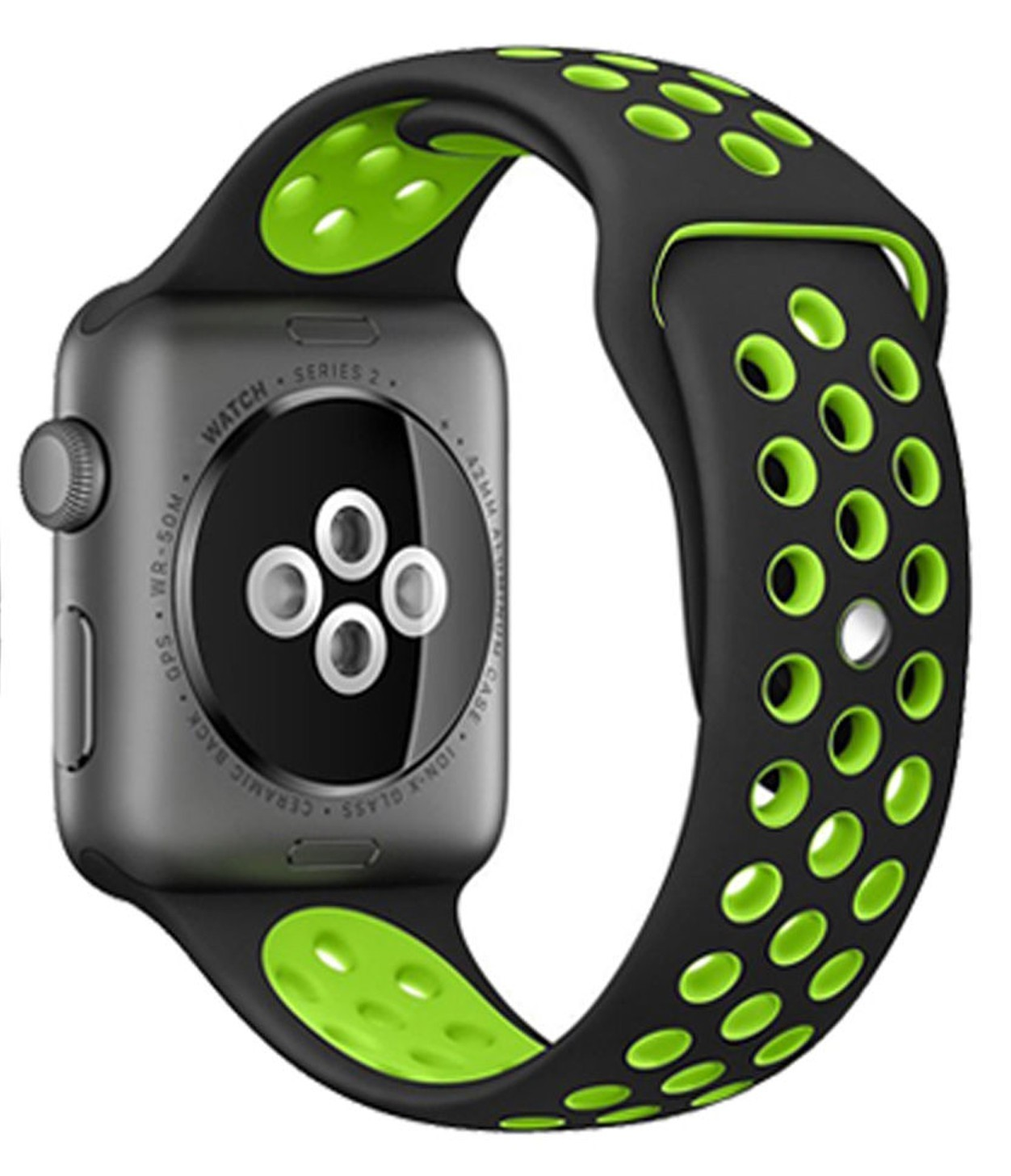 Curea pentru Apple Watch 42 mm Silicon Sport iUni Black-Green
