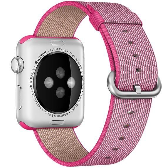 Curea pentru Apple Watch 42 mm iUni Woven Strap, Nylon, Electric Pink