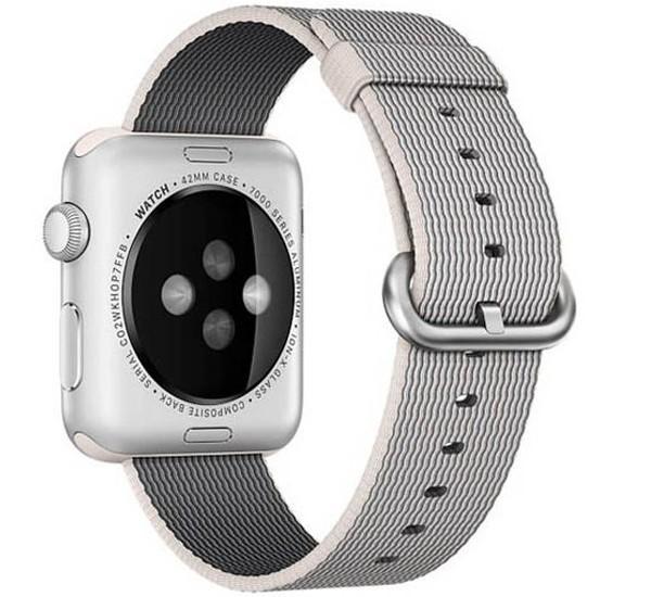 Curea pentru Apple Watch 38 mm iUni Woven Strap, Nylon, White Gray