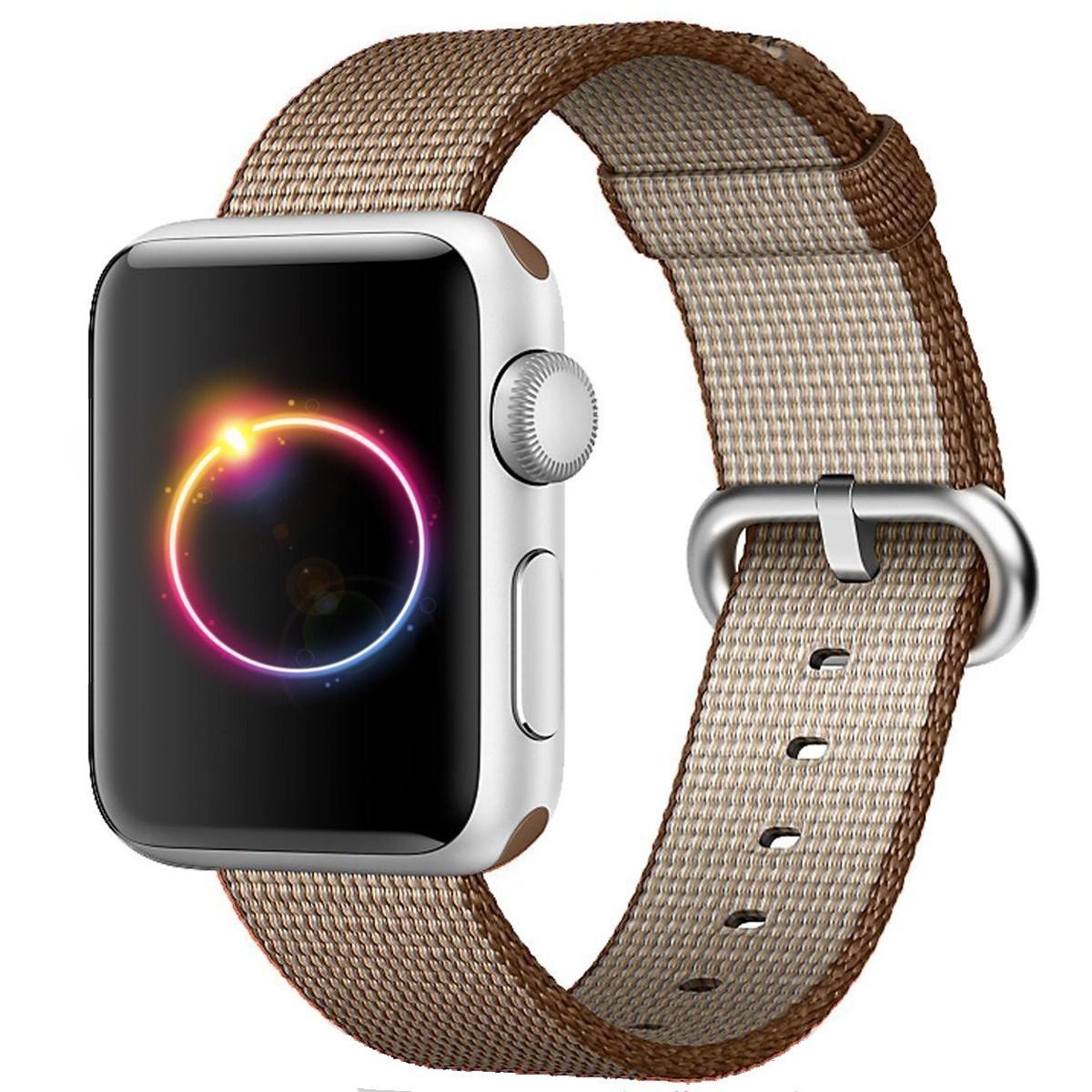 Curea pentru Apple Watch 42 mm iUni Woven Strap, Nylon, Brown