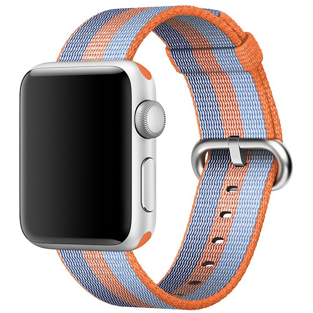 Curea pentru Apple Watch 38 mm iUni Woven Strap, Nylon, Orange-Blue