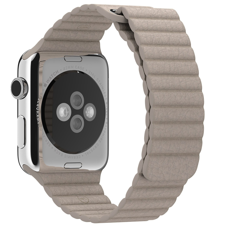 Curea piele pentru Apple Watch 42 mm iUni Kaki Leather Loop