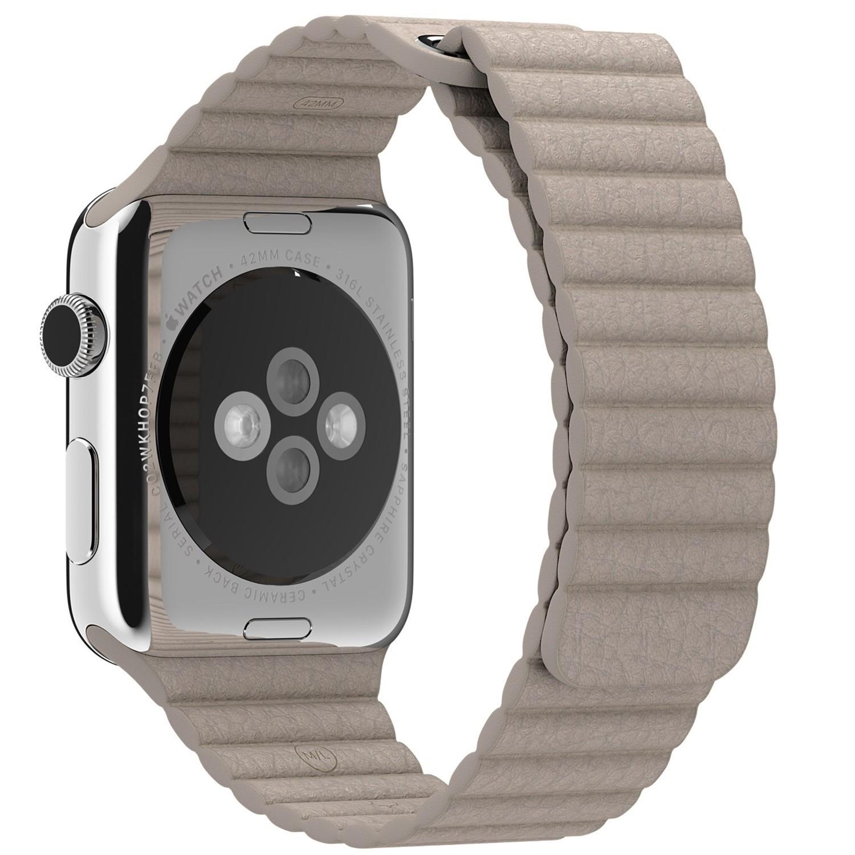 Curea piele pentru Apple Watch 38 mm iUni Kaki Leather Loop imagine techstar.ro 2021