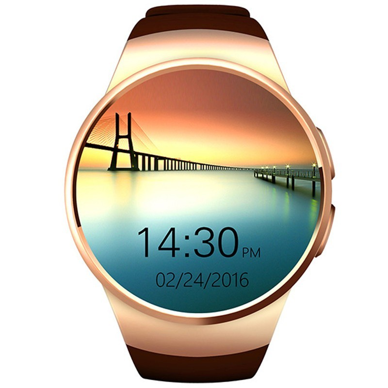 Ceas Smartwatch cu Telefon iUni KW18, Touchscreen, 1.3 Inch HD, Notificari, iOS si Android, Gold imagine