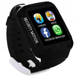Ceas GPS Copii iUni Kid3, Telefon incorporat, Touchscreen 1.54 inch, Bluetooth, Notificari, Camera, Negru