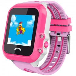 Ceas GPS Copii, iUni Kid27, Touchscreen 1.22 inch, BT, Telefon incorporat, Buton SOS, Roz