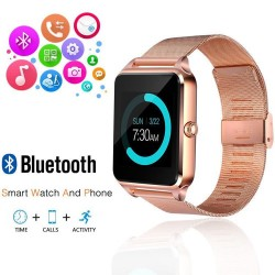 Ceas Smartwatch cu Telefon iUni Z60, Curea Metalica, Touchscreen, BT, Camera, Notificari, Antizgarieturi, Gold