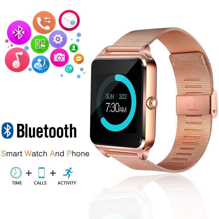 Ceas Smartwatch cu Telefon iUni Z60, Curea Metalica, Touchscreen, BT, Camera, Notificari, Antizgarieturi, Gold