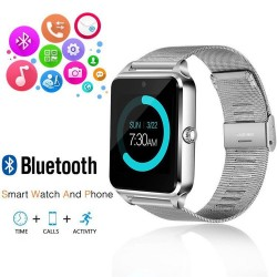 Ceas Smartwatch cu Telefon iUni Z60, Curea Metalica, Touchscreen, BT, Camera, Notificari, Antizgarieturi, Silver