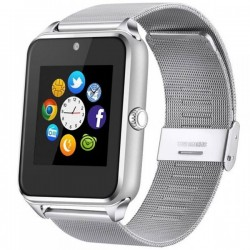 Ceas Smartwatch cu Telefon iUni GT08s Plus, Curea Metalica, Touchscreen, BT, Camera, Notificari, Antizgarieturi, Silver