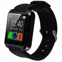 2:1 Smartwatch si Telefon Pedometru U-Watch Bluetooth U8+ negru